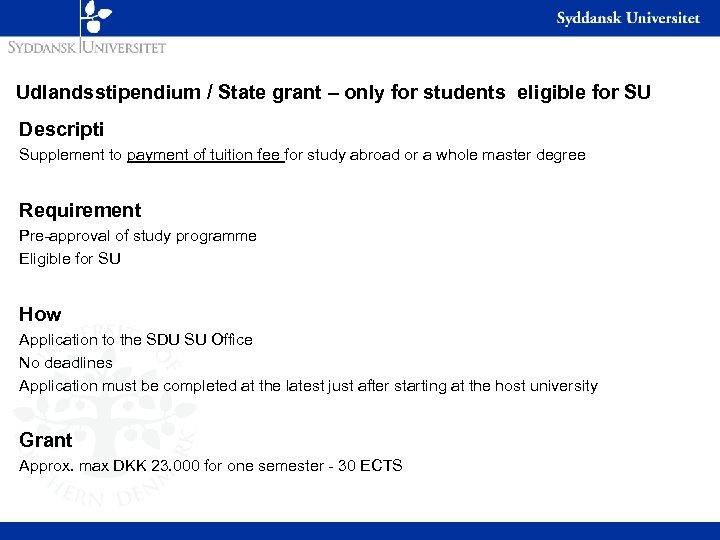 Udlandsstipendium / State grant – only for students eligible for SU Descripti Supplement to