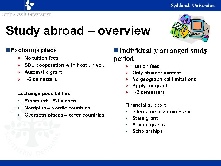 Study abroad – overview n. Exchange place No tuition fees Ø SDU cooperation with