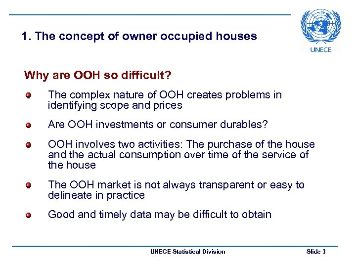 1. The concept of owner occupied houses Why are OOH so difficult? The complex