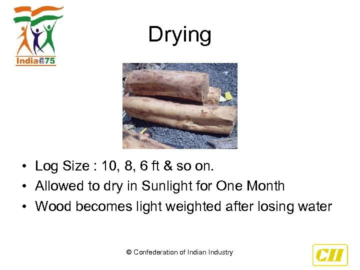 Drying • Log Size : 10, 8, 6 ft & so on. • Allowed