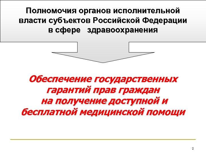 Полномочия органов исполнительной власти субъектов Российской Федерации в сфере здравоохранения Обеспечение государственных гарантий прав