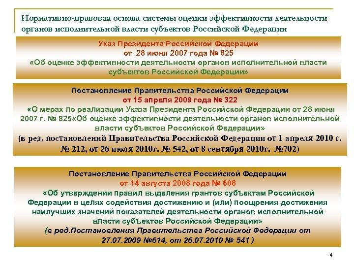 Нормативно-правовая основа системы оценки эффективности деятельности органов исполнительной власти субъектов Российской Федерации Указ Президента