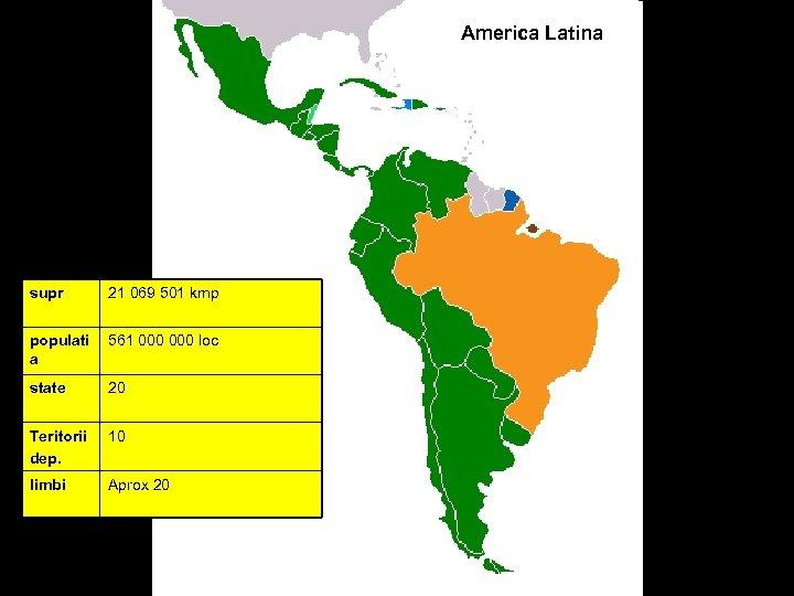 America Latina supr 21 069 501 kmp populati a 561 000 loc state 20