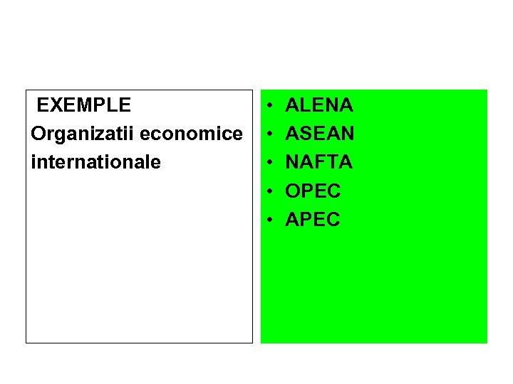 EXEMPLE Organizatii economice internationale • • • ALENA ASEAN NAFTA OPEC APEC