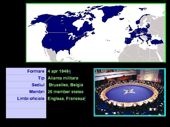 Formare 4 apr 19494 Tip Alianta militara Sediul Bruxelles, Belgia Membri 26 member states