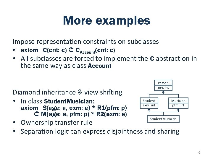 More examples Impose representation constraints on subclasses • axiom C(cnt: c) CAccount(cnt: c) •