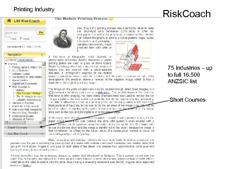 Printing Industry Risk. Coach 75 Industries – up to full 16, 500 ANZSIC list