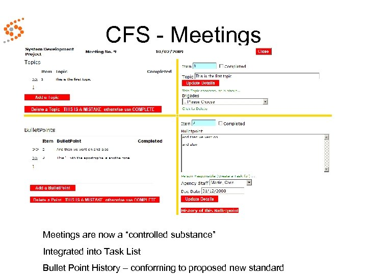 "CFS - Meetings are now a ""controlled substance"" Integrated into Task List Bullet Point"