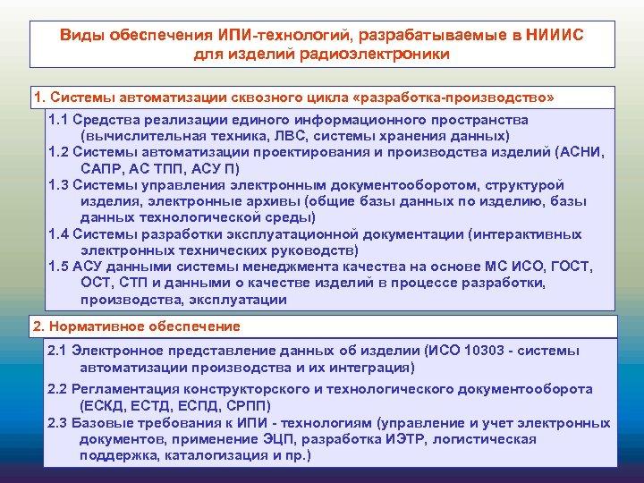 Виды обеспечения ИПИ-технологий, разрабатываемые в НИИИС для изделий радиоэлектроники 1. Системы автоматизации сквозного цикла
