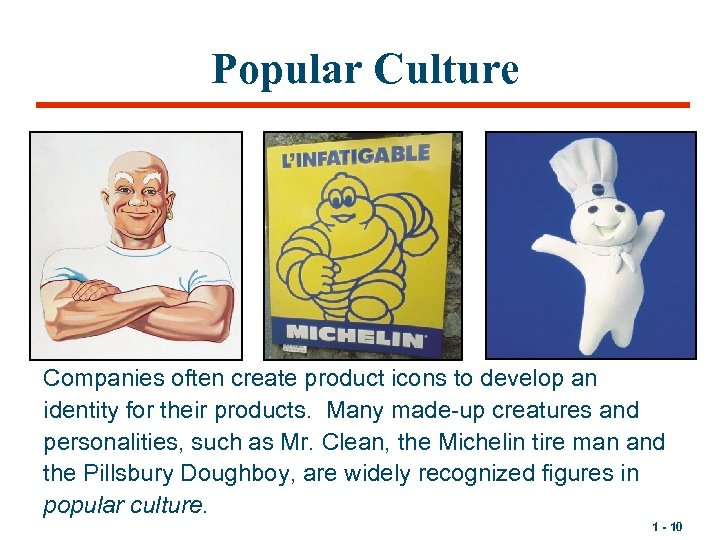 Popular Culture Companies often create product icons to develop an identity for their products.