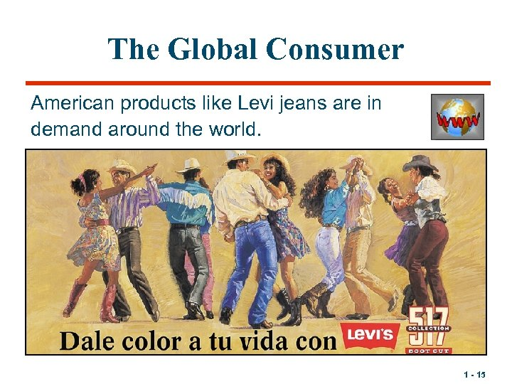 The Global Consumer American products like Levi jeans are in demand around the world.