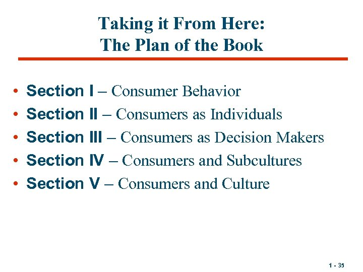 Taking it From Here: The Plan of the Book • • • Section I
