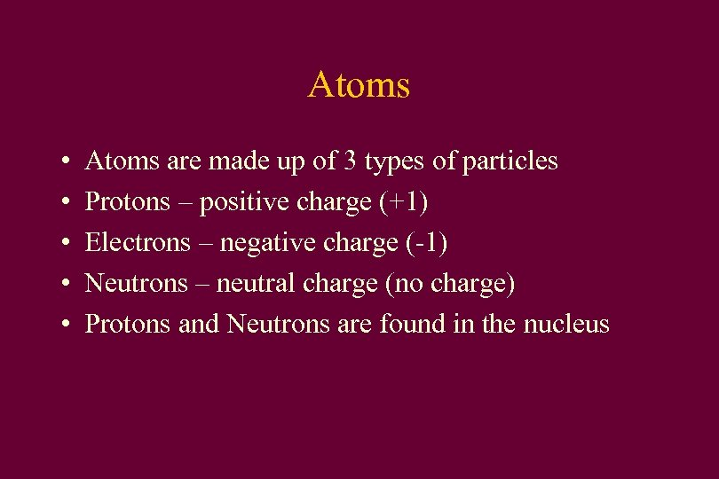 Atoms • • • Atoms are made up of 3 types of particles Protons