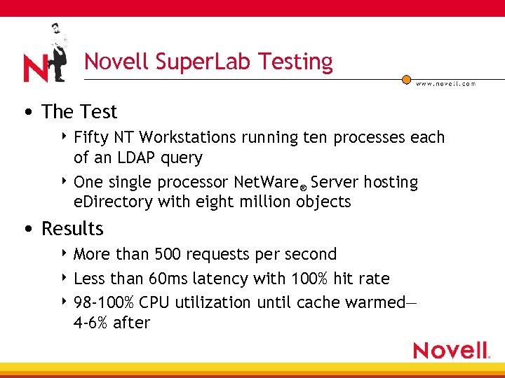 Novell Super. Lab Testing • The Test 4 Fifty NT Workstations running ten processes