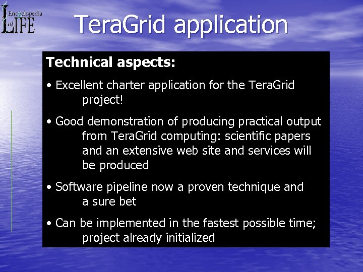 Tera. Grid application Technical aspects: • Excellent charter application for the Tera. Grid project!