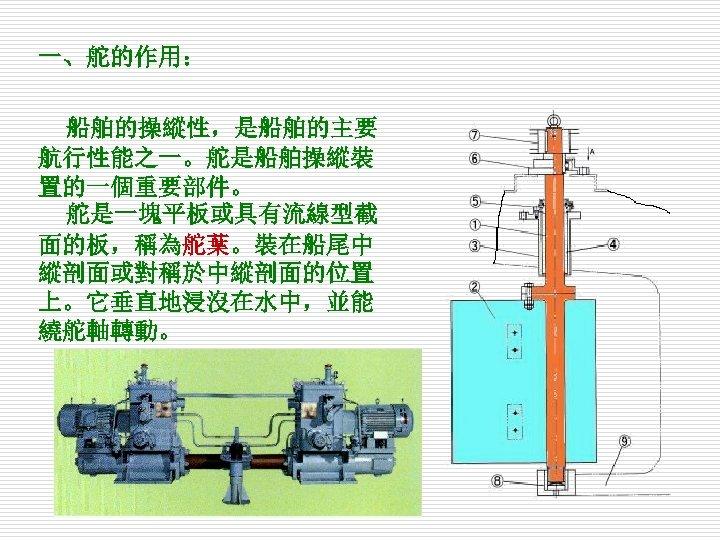 一、舵的作用: 船舶的操縱性,是船舶的主要 航行性能之一。舵是船舶操縱裝 置的一個重要部件。 舵是一塊平板或具有流線型截 面的板,稱為舵葉。裝在船尾中 縱剖面或對稱於中縱剖面的位置 上。它垂直地浸沒在水中,並能 繞舵軸轉動。