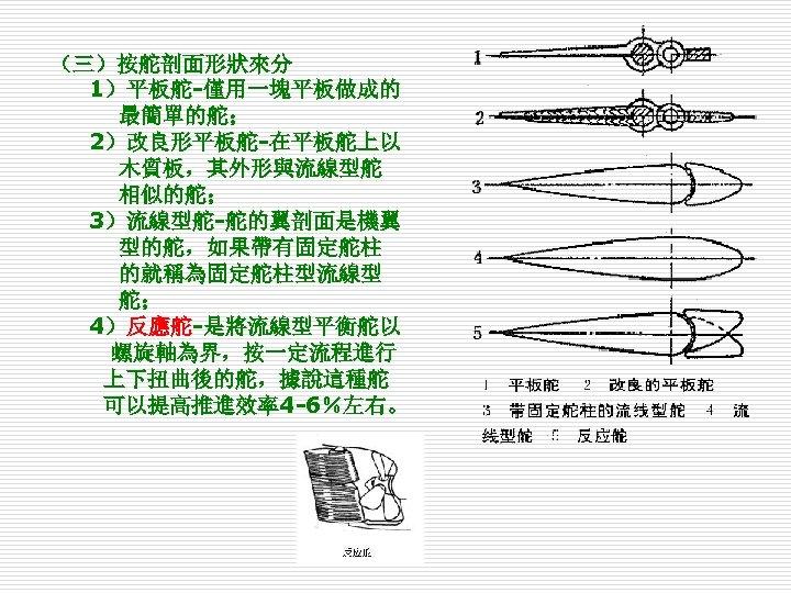 (三)按舵剖面形狀來分 1)平板舵-僅用一塊平板做成的 最簡單的舵; 2)改良形平板舵-在平板舵上以 木質板,其外形與流線型舵 相似的舵; 3)流線型舵-舵的翼剖面是機翼 型的舵,如果帶有固定舵柱 的就稱為固定舵柱型流線型 舵; 4)反應舵-是將流線型平衡舵以 螺旋軸為界,按一定流程進行 上下扭曲後的舵,據說這種舵 可以提高推進效率4