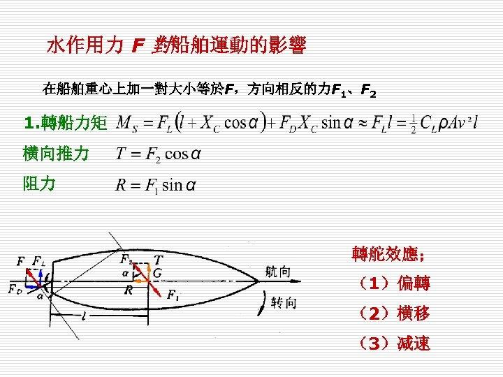 水作用力 F 對船舶運動的影響 在船舶重心上加一對大小等於F,方向相反的力F 1、F 2 1. 轉船力矩 横向推力 阻力 轉舵效應; (1)偏轉 (2)横移 (3)减速