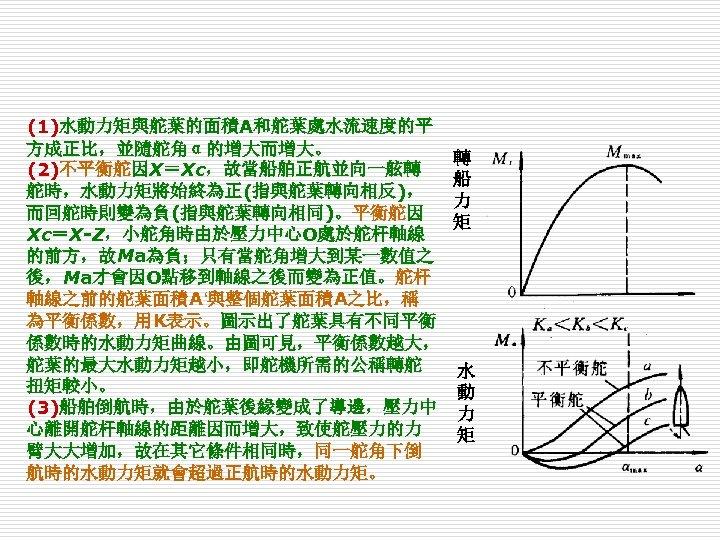 (1)水動力矩與舵葉的面積A和舵葉處水流速度的平 方成正比,並隨舵角α的增大而增大。 (2)不平衡舵因X=Xc,故當船舶正航並向一舷轉 舵時,水動力矩將始終為正(指與舵葉轉向相反), 而回舵時則變為負(指與舵葉轉向相同)。平衡舵因 Xc=X-Z,小舵角時由於壓力中心O處於舵杆軸線 的前方,故Ma為負;只有當舵角增大到某一數值之 後,Ma才會因O點移到軸線之後而變為正值。舵杆 軸線之前的舵葉面積A'與整個舵葉面積A之比,稱 為平衡係數,用K表示。圖示出了舵葉具有不同平衡 係數時的水動力矩曲線。由圖可見,平衡係數越大, 舵葉的最大水動力矩越小,即舵機所需的公稱轉舵 扭矩較小。 (3)船舶倒航時,由於舵葉後緣變成了導邊,壓力中