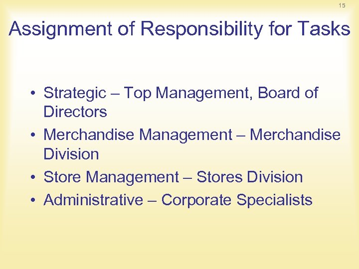 15 Assignment of Responsibility for Tasks • Strategic – Top Management, Board of Directors