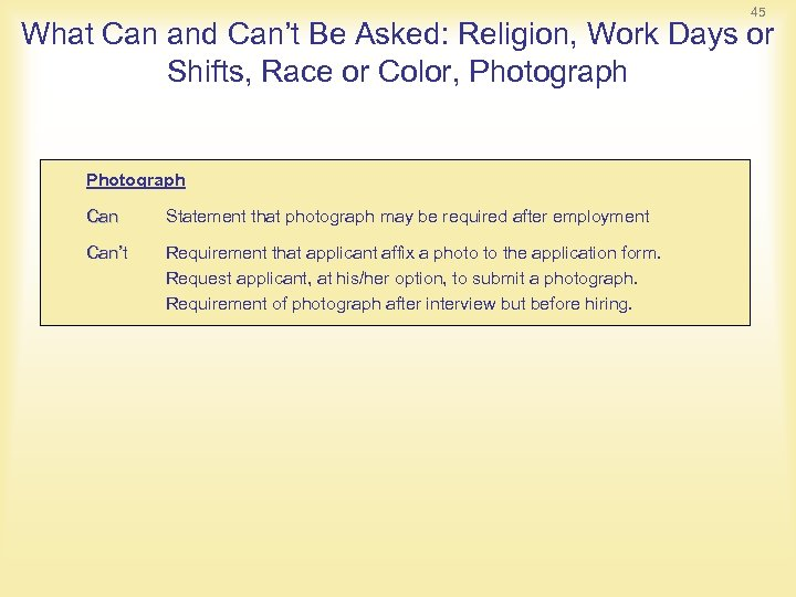 45 What Can and Can't Be Asked: Religion, Work Days or Shifts, Race or