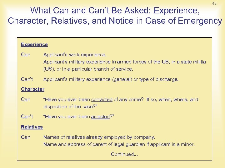 48 What Can and Can't Be Asked: Experience, Character, Relatives, and Notice in Case