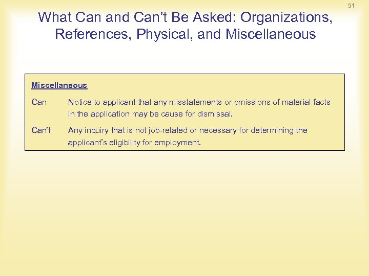 What Can and Can't Be Asked: Organizations, References, Physical, and Miscellaneous Can Notice to