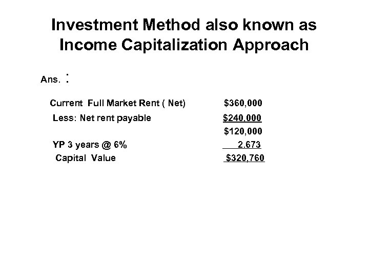 Investment Method also known as Income Capitalization Approach Ans. : Current Full Market Rent