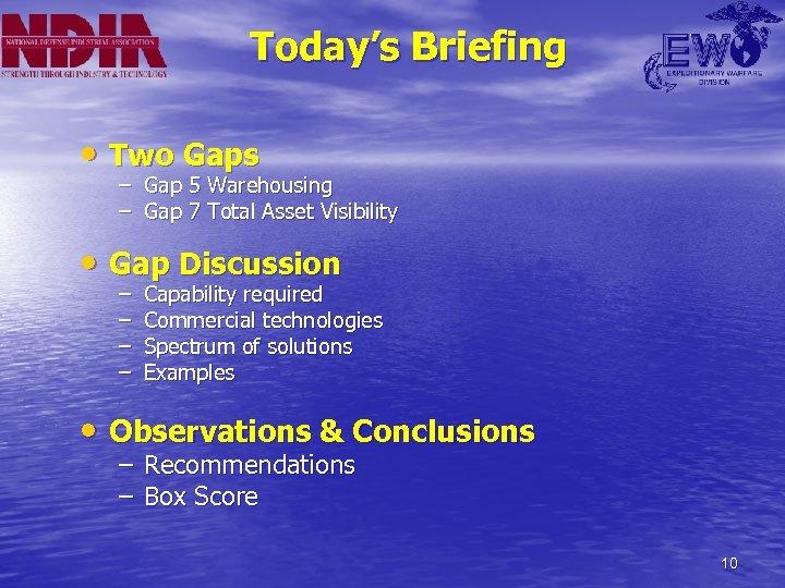 Today's Briefing • Two Gaps – Gap 5 Warehousing – Gap 7 Total Asset