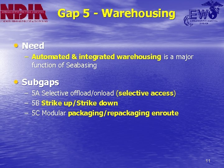 Gap 5 - Warehousing • Need – Automated & integrated warehousing is a major