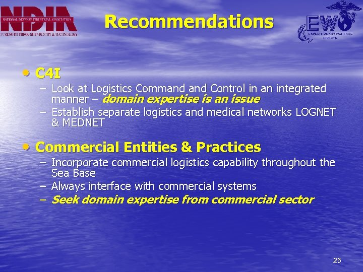Recommendations • C 4 I – Look at Logistics Command Control in an integrated