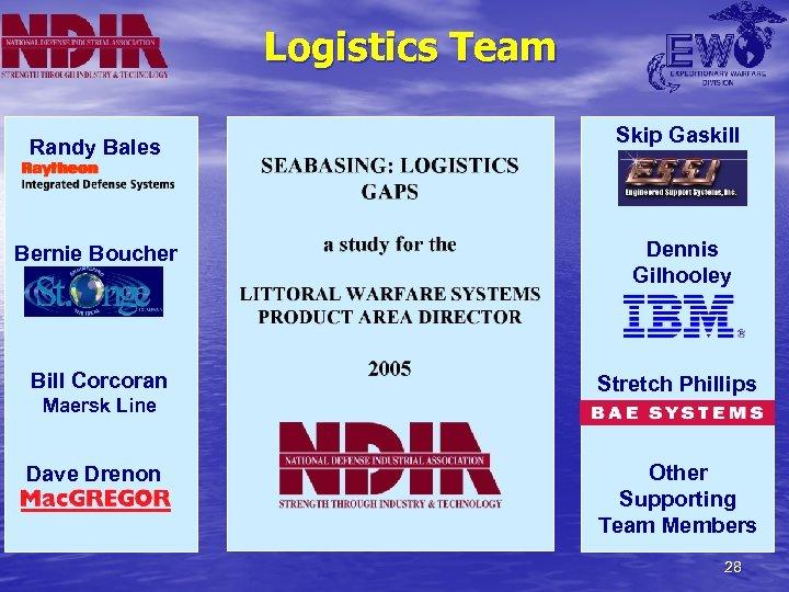 Logistics Team Randy Bales Skip Gaskill Bernie Boucher Dennis Gilhooley Bill Corcoran Stretch Phillips