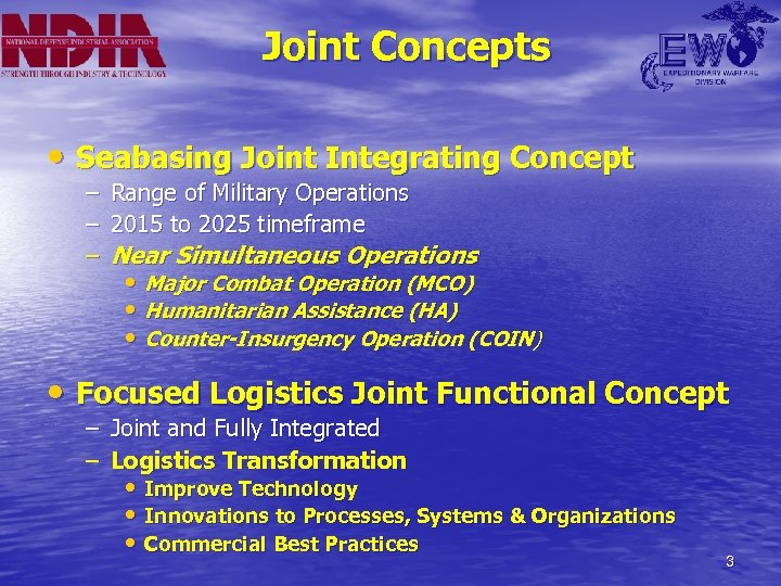 Joint Concepts • Seabasing Joint Integrating Concept – Range of Military Operations – 2015