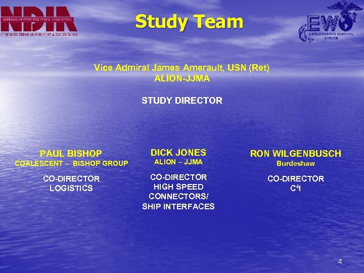 Study Team Vice Admiral James Amerault, USN (Ret) ALION-JJMA STUDY DIRECTOR PAUL BISHOP DICK
