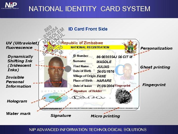 NATIONAL IDENTITY CARD SYSTEM UV (Ultraviolet) fluorescence Dynamically Shifting Ink (Iridescent Inks) 9 86