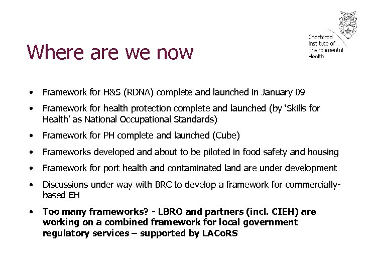 Where are we now • Framework for H&S (RDNA) complete and launched in January