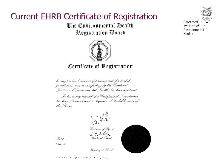 Current EHRB Certificate of Registration