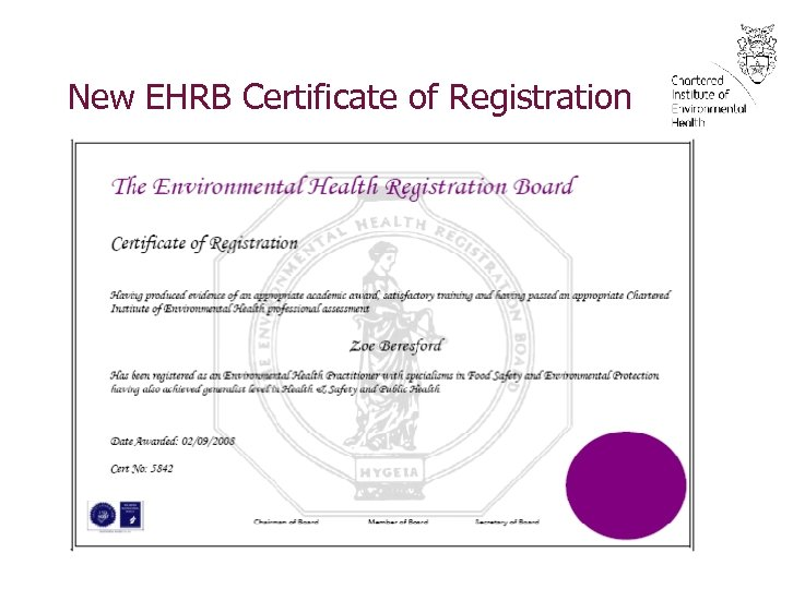 New EHRB Certificate of Registration