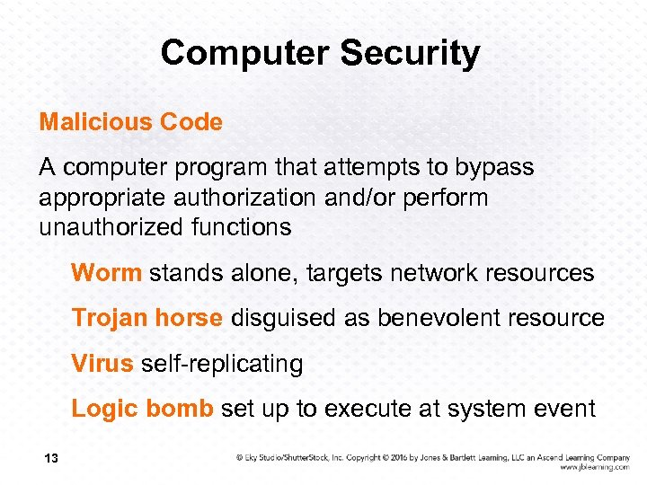 Computer Security Malicious Code A computer program that attempts to bypass appropriate authorization and/or