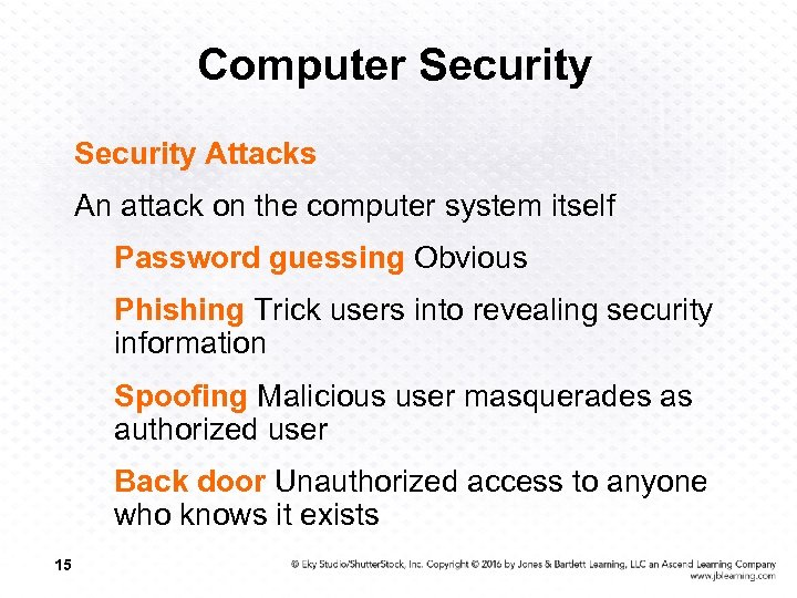 Computer Security Attacks An attack on the computer system itself Password guessing Obvious Phishing