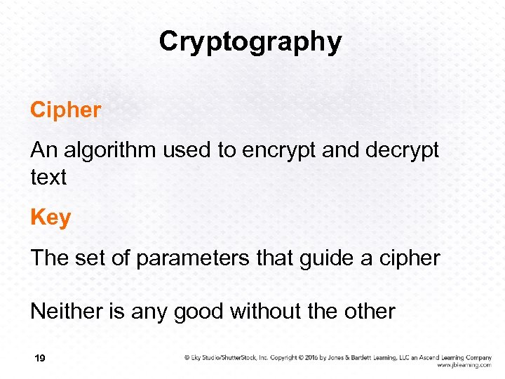 Cryptography Cipher An algorithm used to encrypt and decrypt text Key The set of