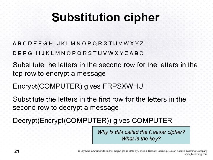 Substitution cipher ABCDEFGHIJKLMNOPQRSTUVWXYZABC Substitute the letters in the second row for the letters in