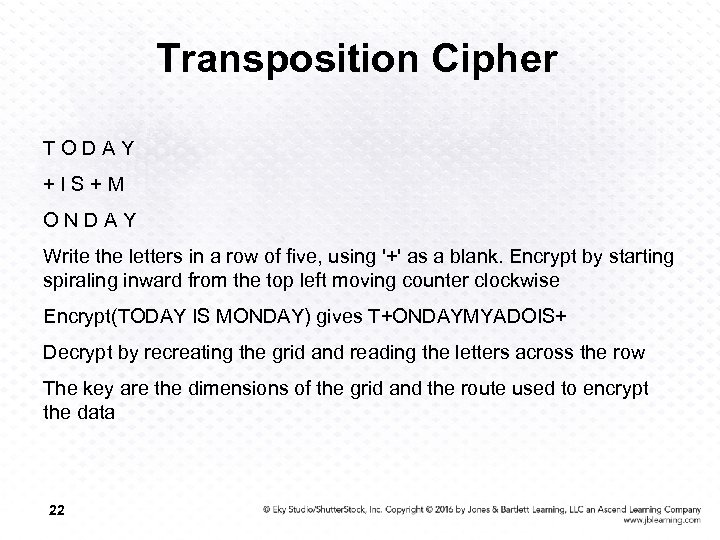 Transposition Cipher TODAY +IS+M ONDAY Write the letters in a row of five, using