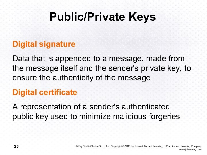Public/Private Keys Digital signature Data that is appended to a message, made from the