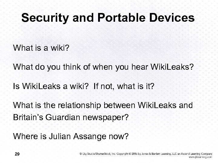 Security and Portable Devices What is a wiki? What do you think of when