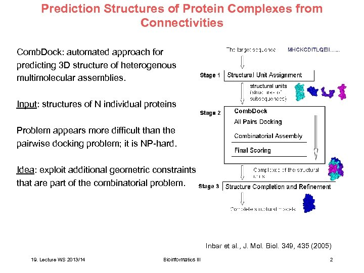 Prediction Structures of Protein Complexes from Connectivities Comb. Dock: automated approach for predicting 3