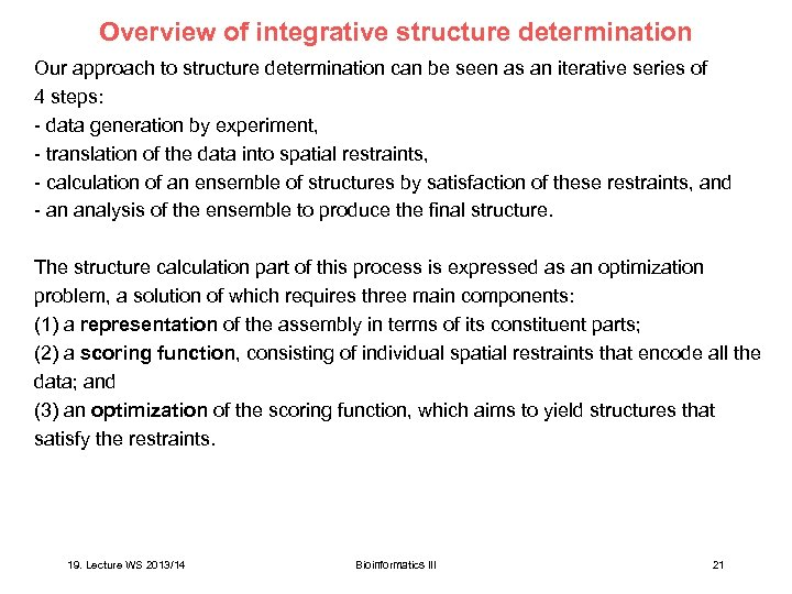 Overview of integrative structure determination Our approach to structure determination can be seen as