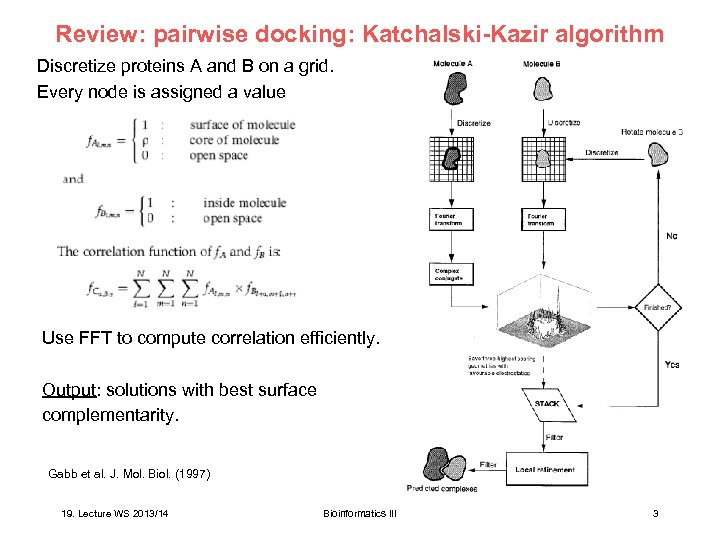 Review: pairwise docking: Katchalski-Kazir algorithm Discretize proteins A and B on a grid. Every