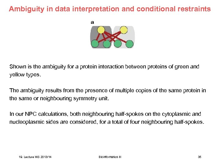 Ambiguity in data interpretation and conditional restraints Shown is the ambiguity for a protein