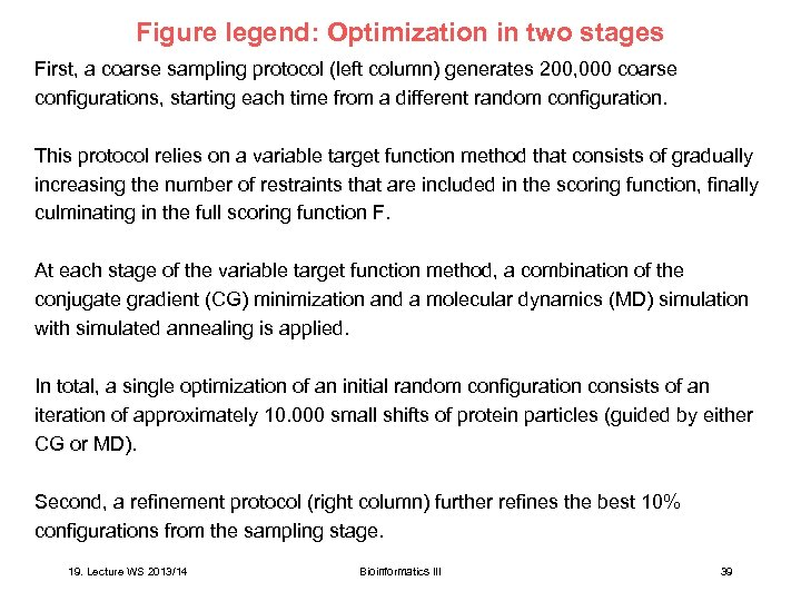 Figure legend: Optimization in two stages First, a coarse sampling protocol (left column) generates
